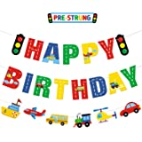 Transportation Happy Birthday Banner Car Bus Train Plane Ship Helicopter Traffic Light Photo Props Garland for Kids Transport