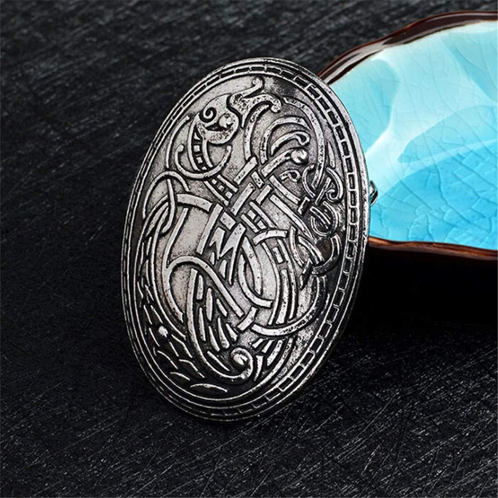 Gold KUHRLRX Retro Brosche Nordic Viking Wolf Muster Amulett Kleidung Hemd Jacken Brosche Weihnachten Geburtstage Geschenk