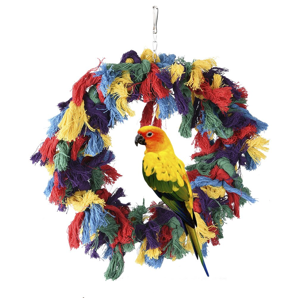Pet Bird Cotton Ring Play Exercise Chew Cotton Snuggle Ring Bird Toy by Hypeety (Image #2)