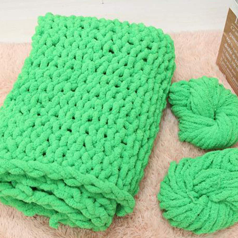 Huge Chunky Green Chenille Knit Blanket Super Chunky Hand Knit Throw,Hand Knitted Chenille Throw Blankets,Thick Knit Blanket 47''x59'' Boy Girl Gift by Vesna market (Image #3)