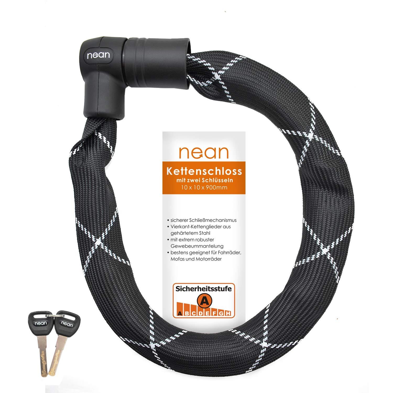 Color Negro eslabones Cuadrados Revestimiento de Tejido y 2 Llaves de Seguridad 10 x 10 x 900 mm nean Candado de Cadena para Bicicleta