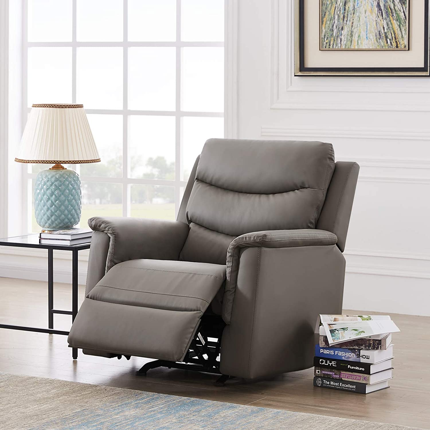 Pannow Double Recliner Loveseat with Console Slate, Double Reclining Sofa with Cup Holder, 2-Seater with Flipped Middle BACKREST Black PU, Theater Seating Furniture Sofa Bed, Gray PU (Grey, 1 Seater)