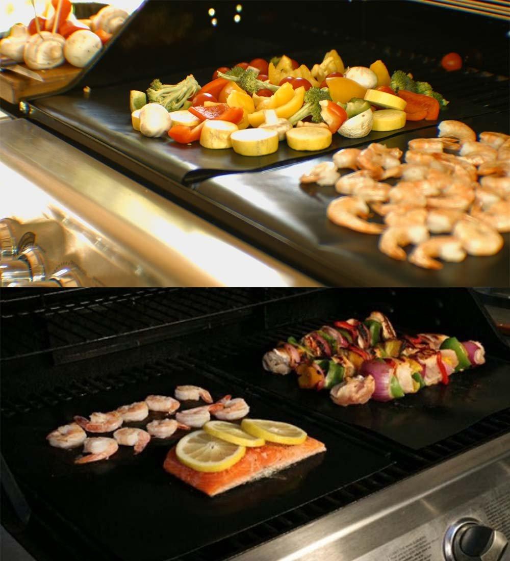 BBQ Grill Mat gas antiadherente PTFE Oven Liner Cocinas de cocina perfectas para hornear con gas Carb/ón de le/ña y parrilla el/éctrica Reutilizable y f/ácil de limpiar Tapete de barbacoa perfecto para hornear en carb/ón ho