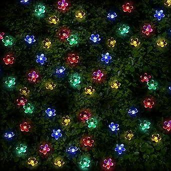 100 Mehrfarbigen LED Blume Solarlichterketten   Solarbetriebene Wasserfest  Solar Garten Lichterketten   Solarlampen Mit Eingebaut Nacht Sensor, ...