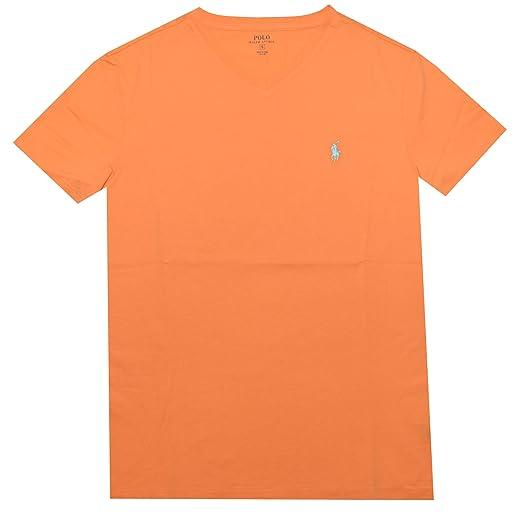 50f4a4ac2ce825 Polo Ralph Lauren Mens Cotton V-Neck T-Shirt Orange S   Amazon.com
