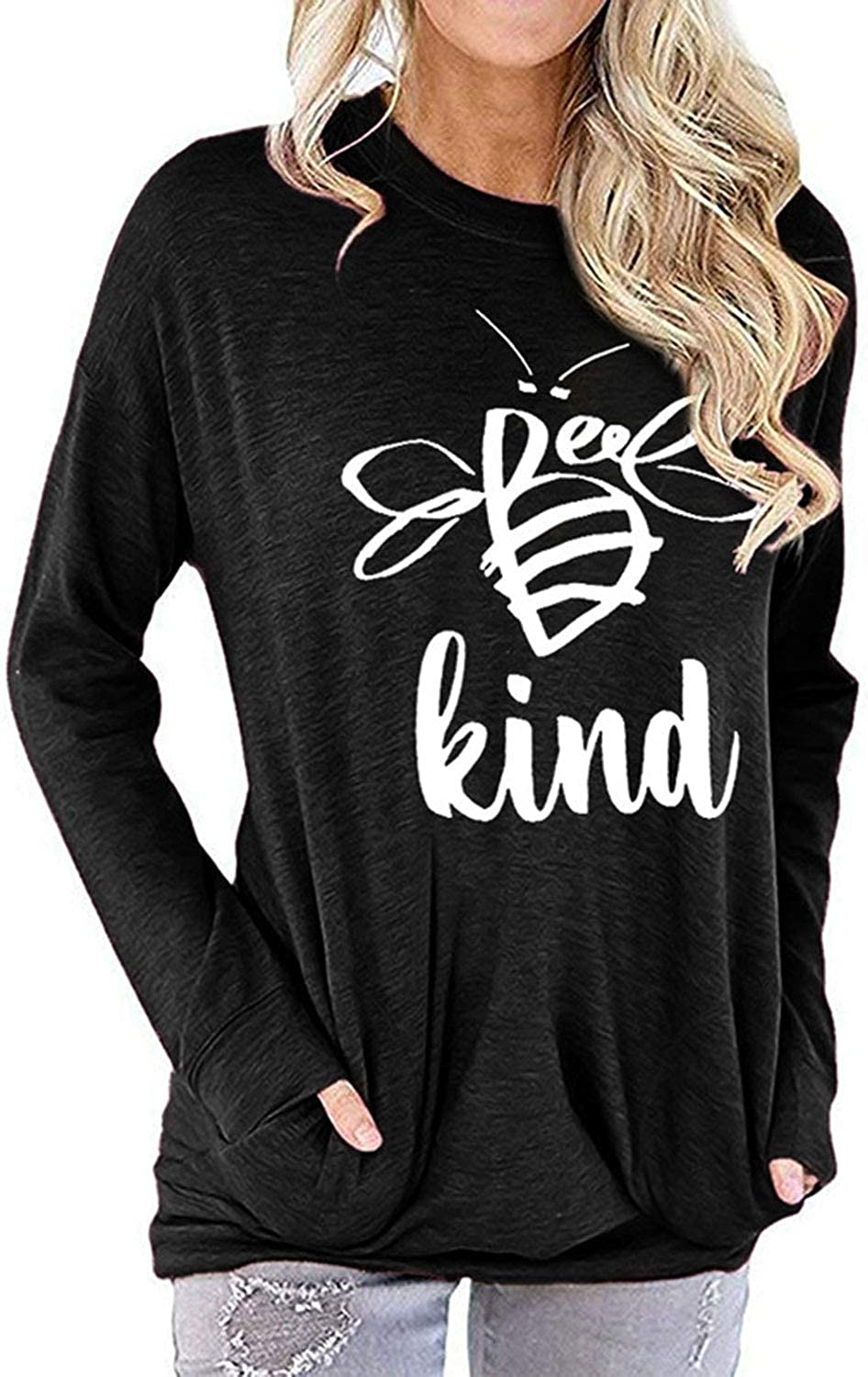Be Kind Sweatshirt Women Bee Graphic Tees Shirt T Shirts Long Sleeve Casual Tops Blouse Pullover