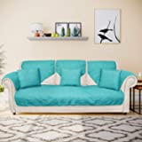 @home by Nilkamal Reversible Solid 3 Seater Sofa Cover with 3 Cushion Covers (Sea Green)
