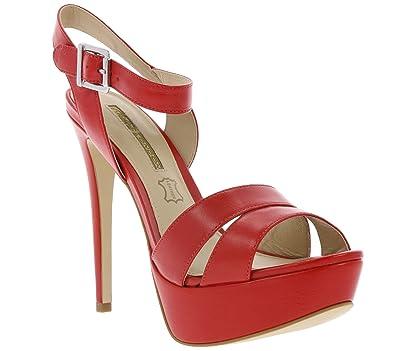 26cb55f089ac40 Buffalo Schuhe Sandalette Echtleder Plateau High Heels mit Fesselriemen  Rot