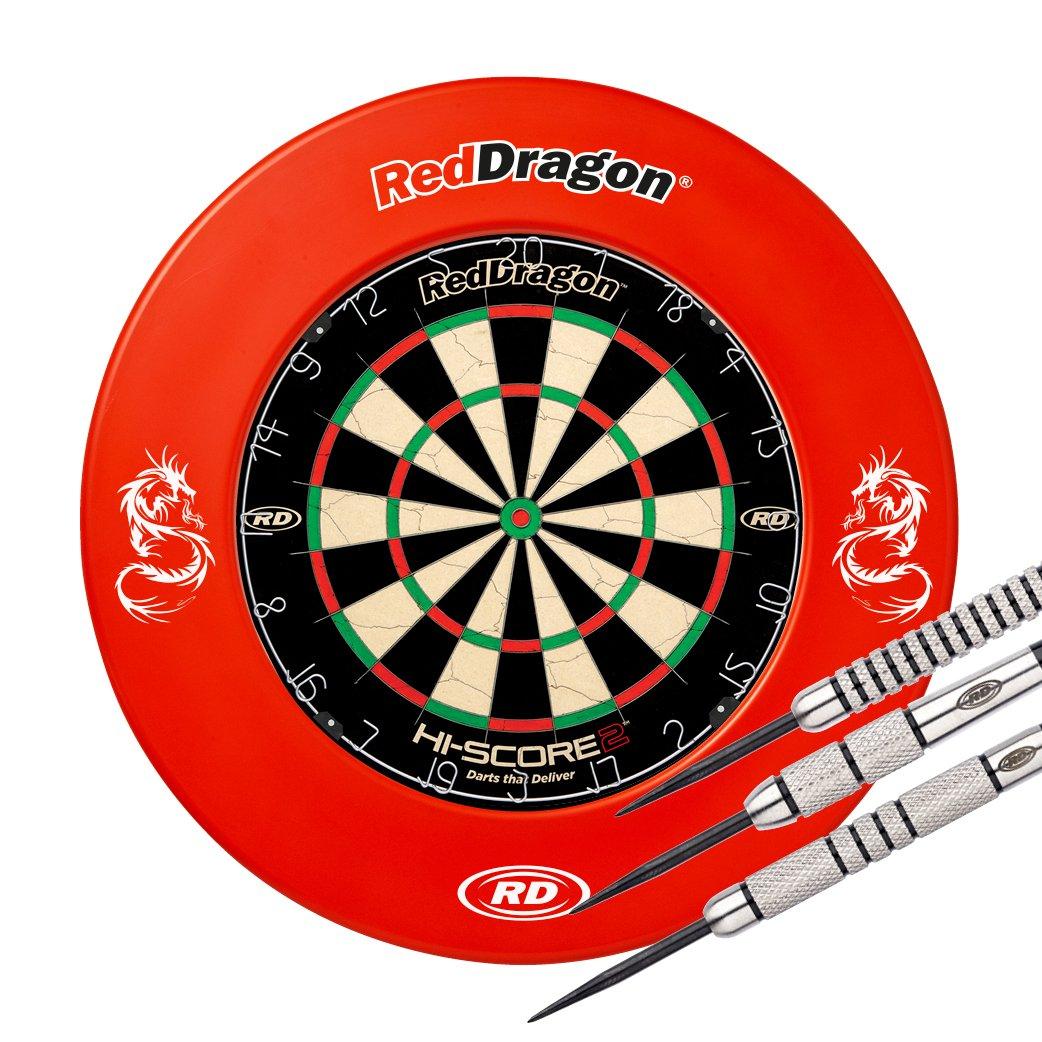Red Dragon Hi-Score 2 Dartboard, Printed Surround & Swingfire 1-24g darts- Combo Set Red Red Dragon Darts