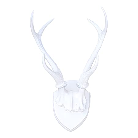 Large Faux Taxidermy Deer Antler Mount - White Antlers And