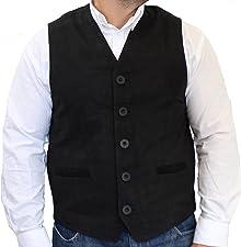 RICANO 321, Herren Lederweste/Trachtenweste aus Echtem Leder in Verschiedenen Farben (Wildleder:Schwarz,Braun,Mittelbraun - Glattleder:Schwarz)