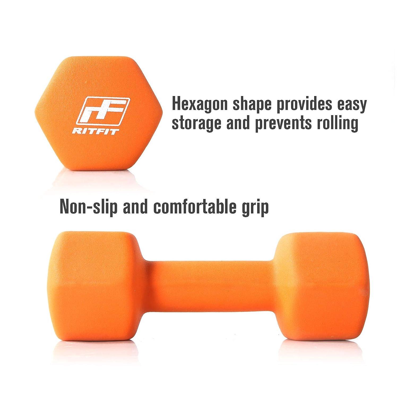 RitFit Set of Two Neoprene Dumbbells Coated for Non-Slip Grip, 1 lb-20 lb