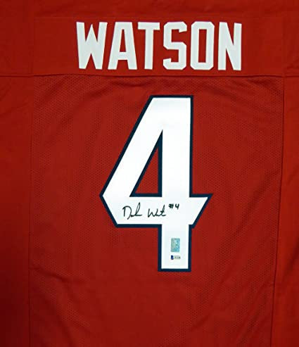 best loved 16a2f ea9dd Houston Texans DeShaun Watson Autographed Red Jersey Beckett ...