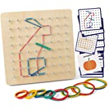 Coogam Wooden Geoboard Mathematical Manipulative Material Array Block Geo Board – Graphical Educational Toys with 30Pcs…