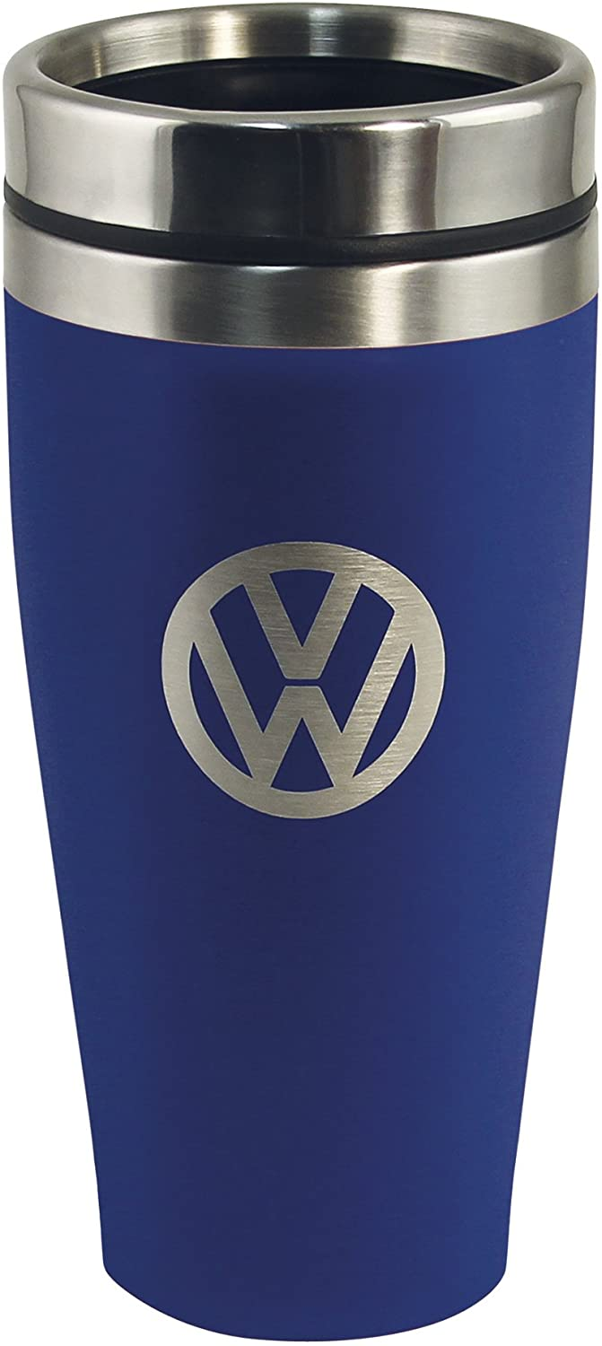 BRISA VW Collection - Volkswagen Samba Bus T1 Camper Van Insulated Stainless Steel Tumbler, Thermo Mug (Double-Walled/13.5 fl.oz./Blue)