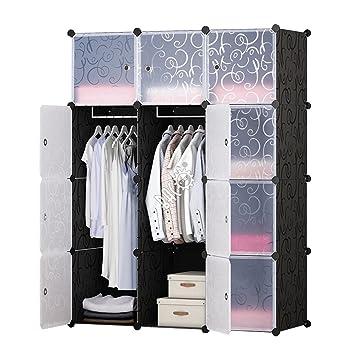 BRIAN & DANY Kleiderschrank aus 12 Würfeln, Garderobenschrank  Steckregalsystem Kunststoffschrank mit Türen & 2 Aufhängern, tiefere Fächer  als ...