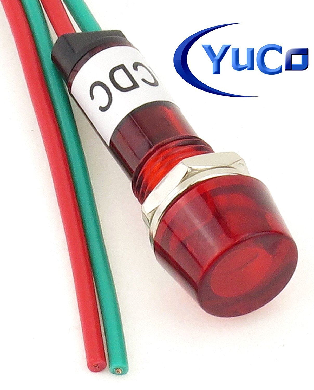 Pack of 10 YuCo YC-9WRT-1R-12-10 RED 9MM LED Indicator Miniature Pilot Light 12V AC or DC