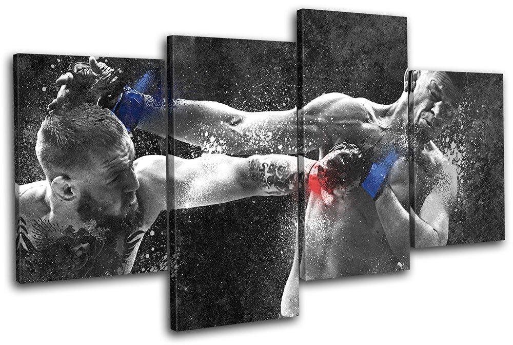 太字ブロックデザイン – Conor McGregor Nate Diaz UFC総合格闘技スポーツマルチキャンバスアートプリントボックスフレーム壁吊り下げ – Hand Made In The UK – Framed and ready to hang (E) 240x135cm 13-8039(00B)-MP04-LO-E  (E) 240x135cm