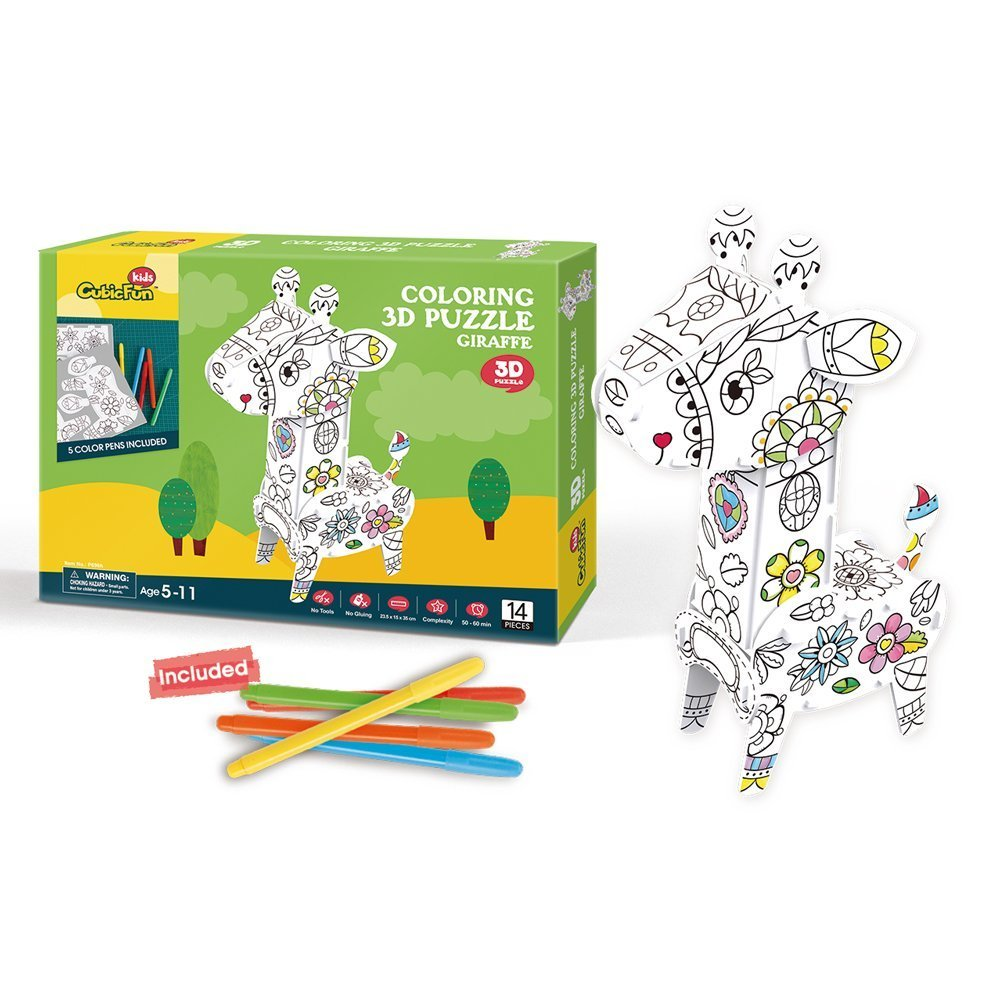日本最大級 (Giraffe) - CubicFun Giraffe Colour DIY Colouring 3D Giraffe Puzzle DIY With 5 Colour Pens, DIY Educational Toys For Kids, 14 Pieces B072Z7YBCX, ミヤザキムラ:f951c3b5 --- a0267596.xsph.ru