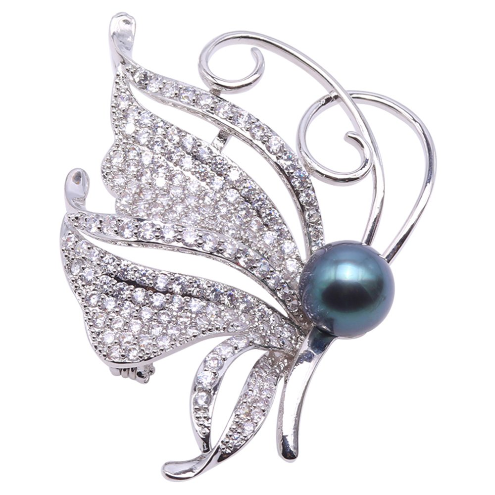 JYX Luxurious Pearl Brooch 10mm Tahitian Cultured Pearl Brooch Pin Fine Butterfly-style