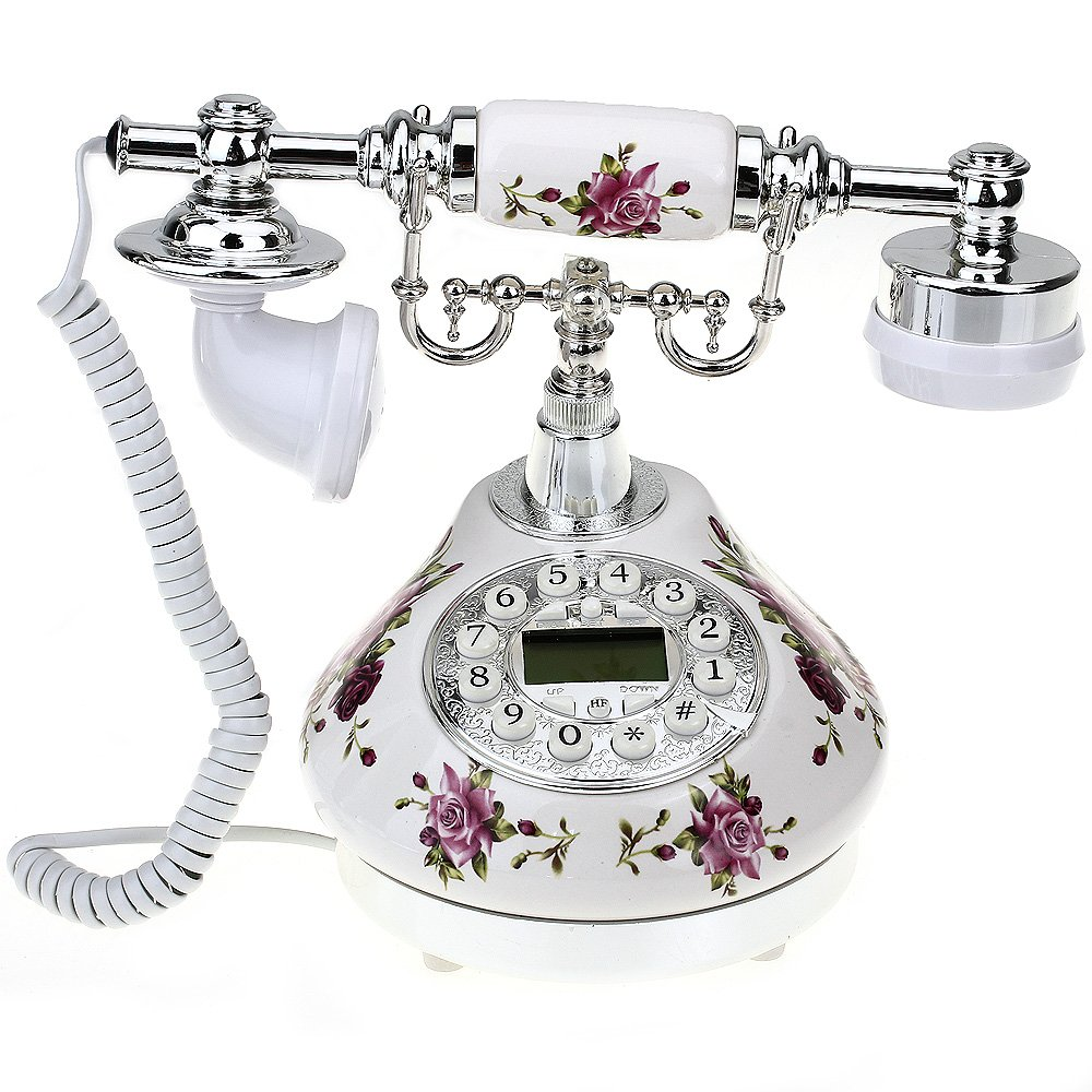 VivReal Retro Antique Style Resin Desk Telephone Phone Print Silver+White Home Decor