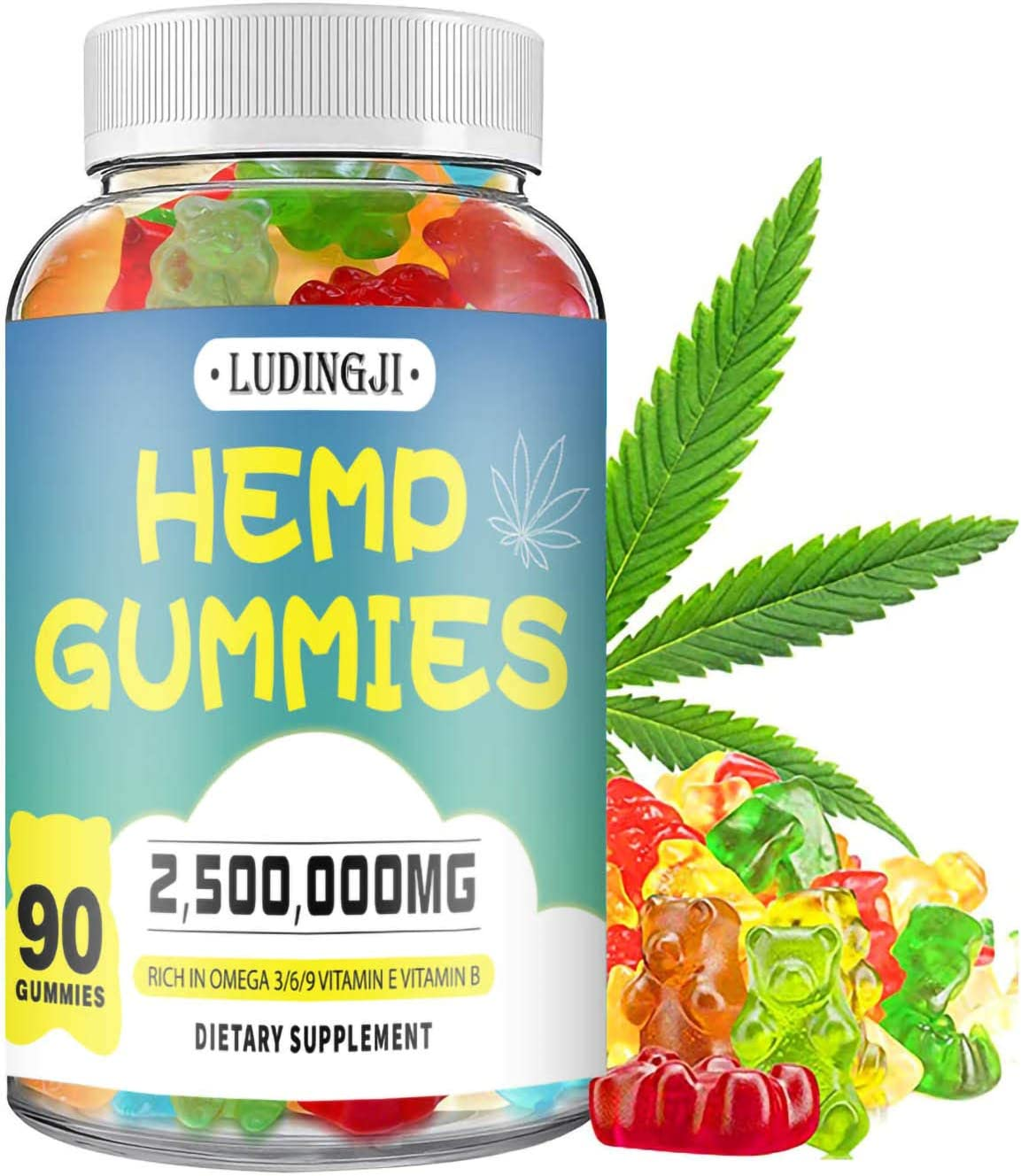 Hemp Gummies Premium Extract 2,500,000mg Natural Hemp Candy Supplements Hemp Gummies for Pain and Anxiety Promotes Sleep and Calm Mood