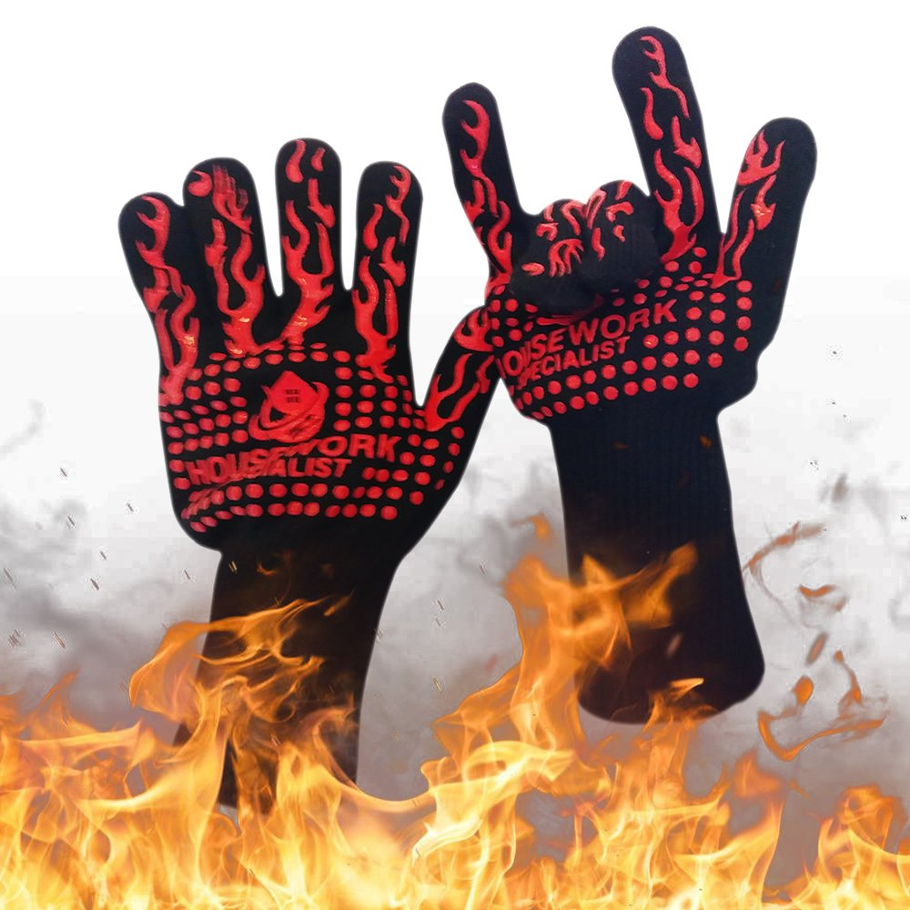 Housework Specialist BBQ Grill Gloves - Heat Resistant for Extreme Temperatures -109ºF to 932ºF- For Grilling, Oven Cooking, Baking - Kamado Grill, Fireplace and Fire Pit Accessories