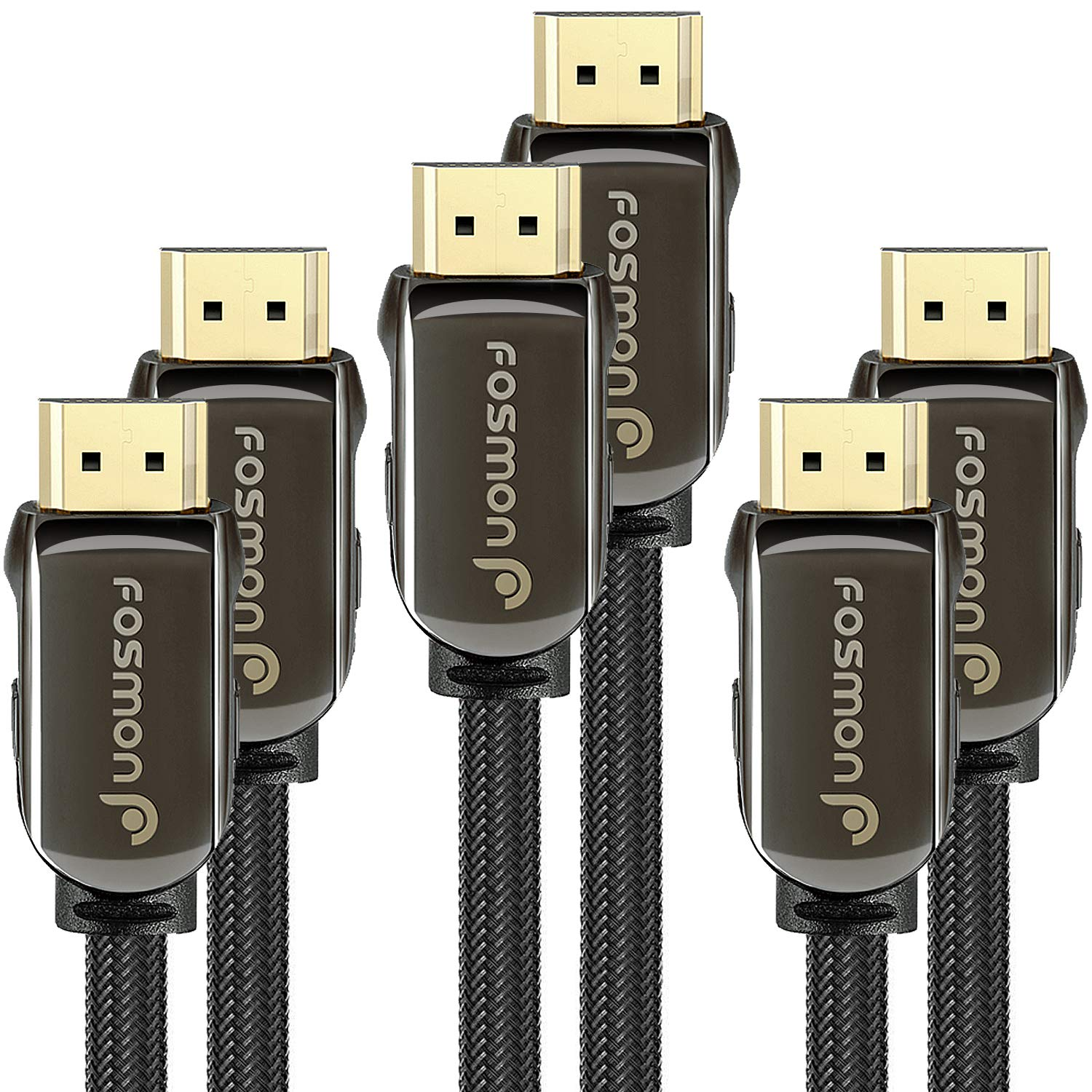 HDMI Cable 10FT (3 Pack) Fosmon CL3 Rated (in-Wall Installation) 4K Latest Standard 2.0 UL Listed Supports 2160p 3D 18Gbps ARC HDR UHD 1080p, Nylon Braided with 24K Gold Plated Connectors by Fosmon