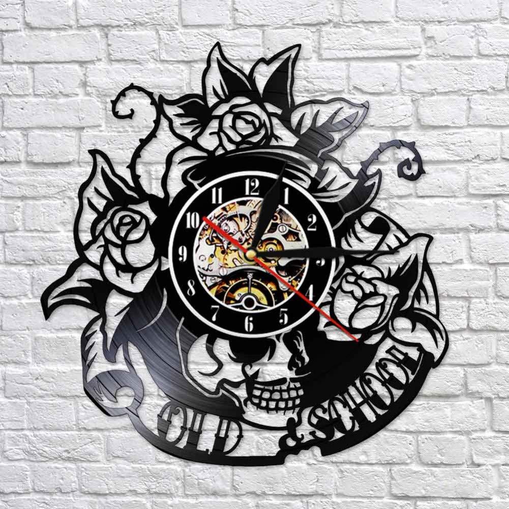 Reloj pared vinilo colorido Tatuaje de calavera con reloj de pared ...