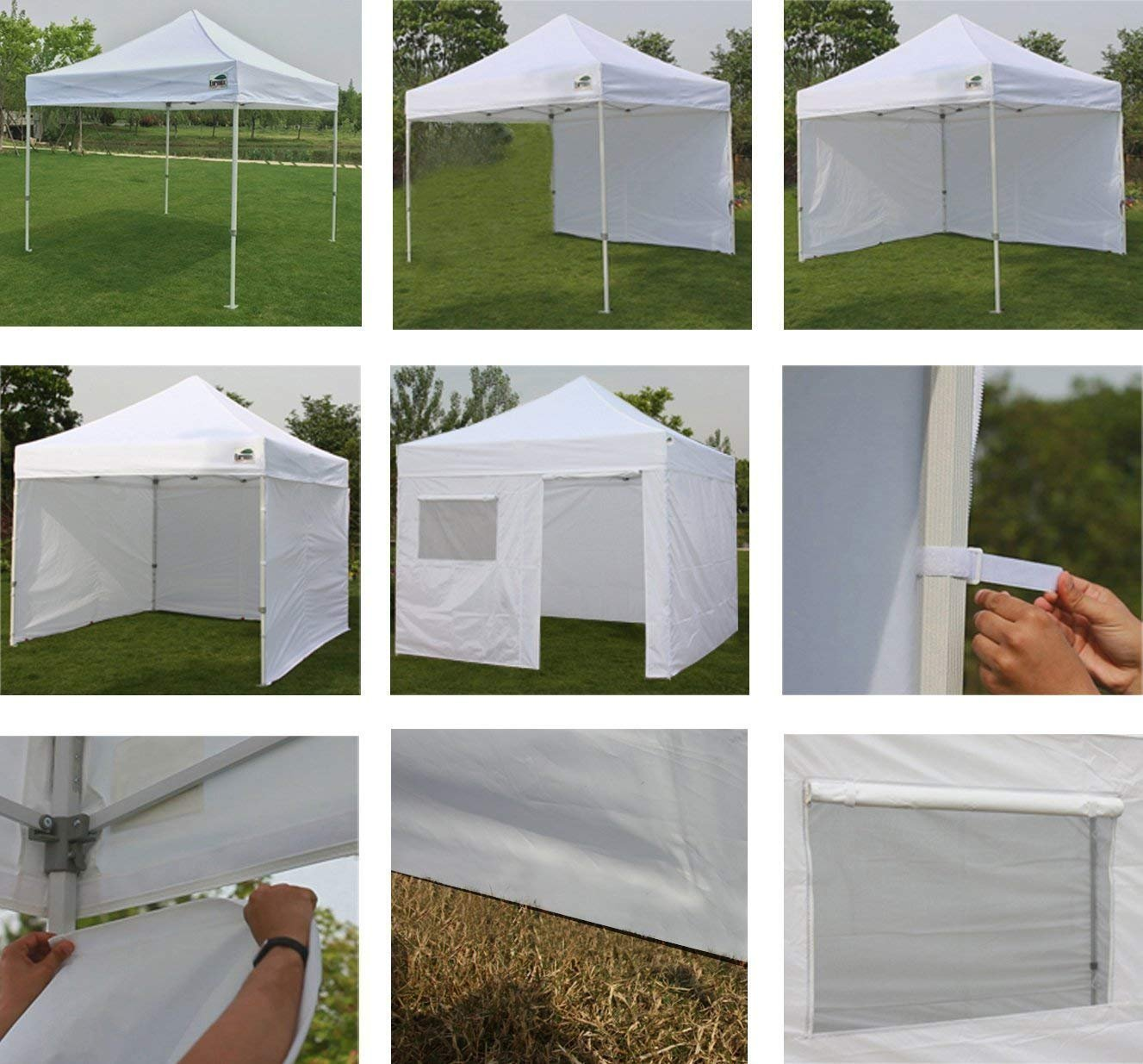 Eurmax 10'x10' Ez Pop Tent Commercial Instant Canopies with 4 Removable Zipper End Side Walls and Roller Bag Bonus 4 SandBags Weight, 1-White by Eurmax (Image #5)