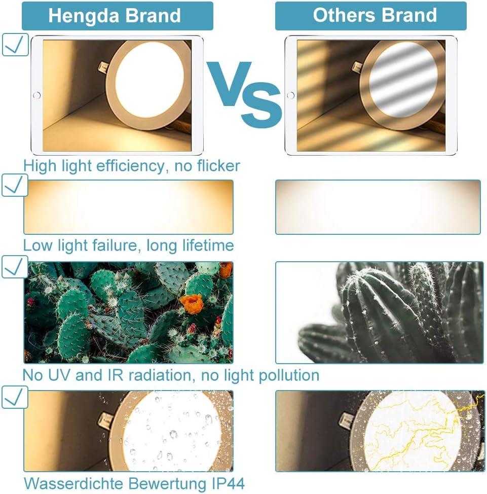 Blanco neutro Hengda 10X Panel Downlight LED Redondo Plano 18W Blanco Driver incluido LED Empotrado Incluido Blanco c/álido Clase de eficiencia energ/ética A+ Blanco fr/ío 3200k-6500k