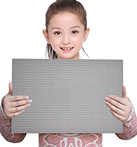 "Sawaruita Classic Gray Baseplate Supplement 10"" x 15"" Building Bricks Sets Compatible with All Major Brands Kids Games"