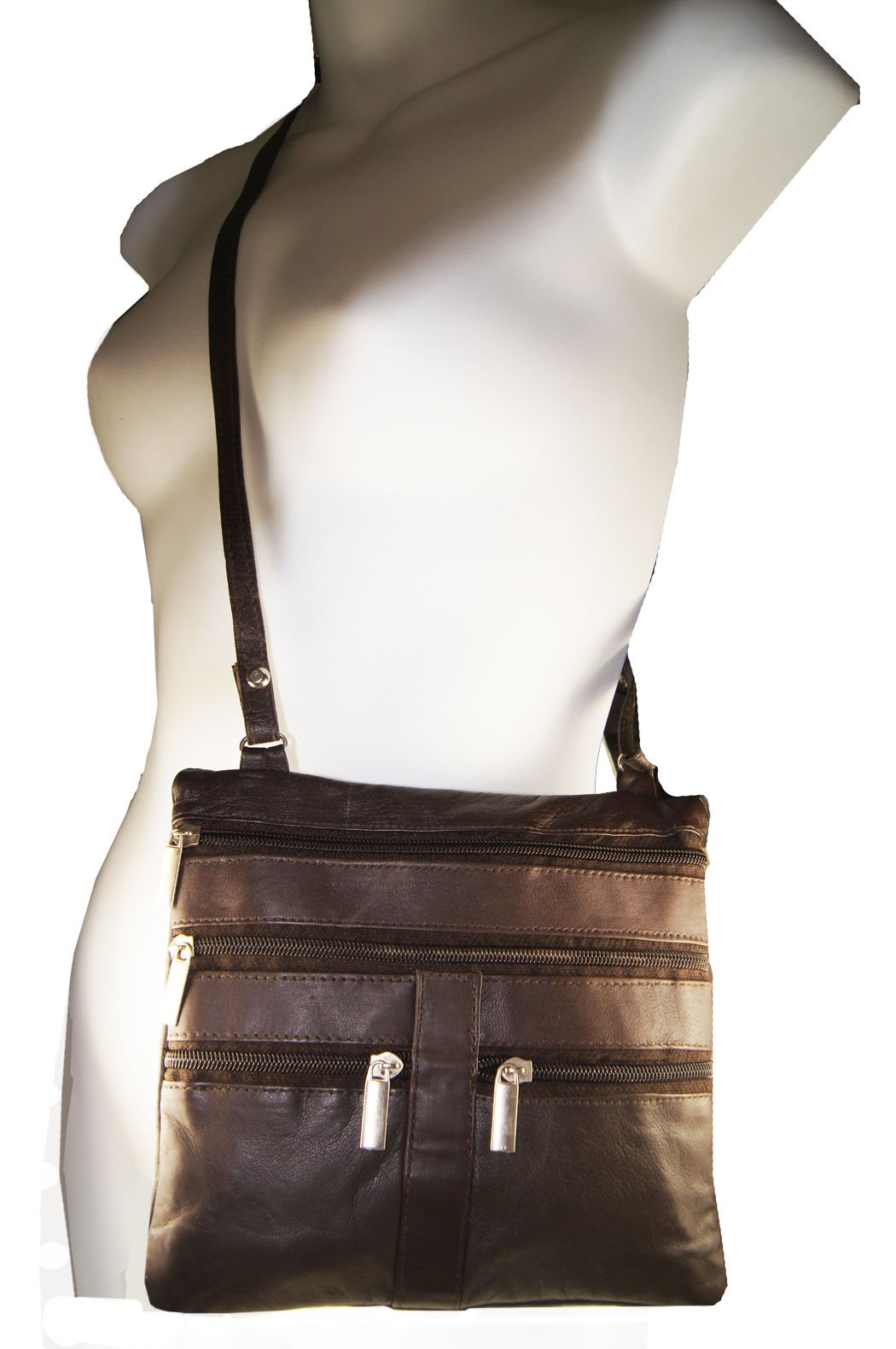 Brown Ladies Genuine Leather Cross Body Bag Satchel Messenger Bag 48'' Strap