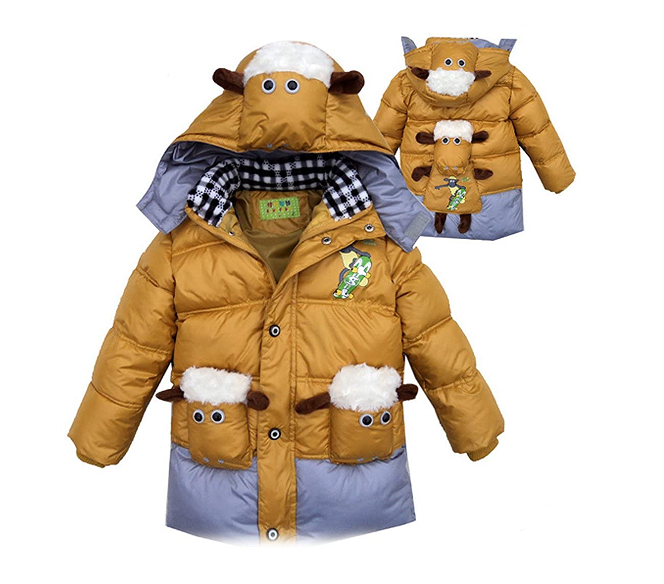 SOPO Baby Boys Duck Down Hoodie Jackets Cartoon Outerwear Coat 3-5Y Brown