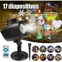 InnooLight Projecteur Noël LED Extérieur Lumière Etanche IP65, Projecteur led noel exterieur avec la Télécommande, 17 diapositive pour Noël, Halloween, Pâques, Saint-Valentin, Anniversaire et Carnaval