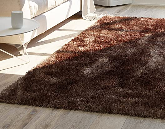 Home Way Premium Quality Beige-Brown Taupe Super Thick Plush Shag Area Rug 6'7″ x 9'10″ 7