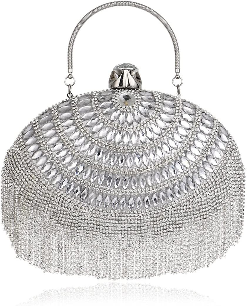 LXYFMS European And American Tassel Evening Bag Ladies Dress Evening Clutch Dinner bag (Color : Silver) Silver