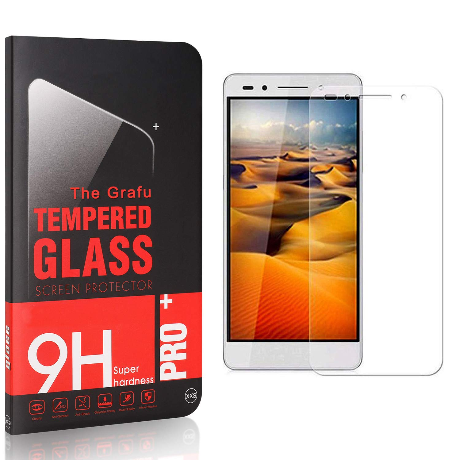 UNEXTATI 9H Tempered Shatterproof Glass Screen Protector Compatible with Huawei Honor 7 3 Pack Screen Protector for Honor 7