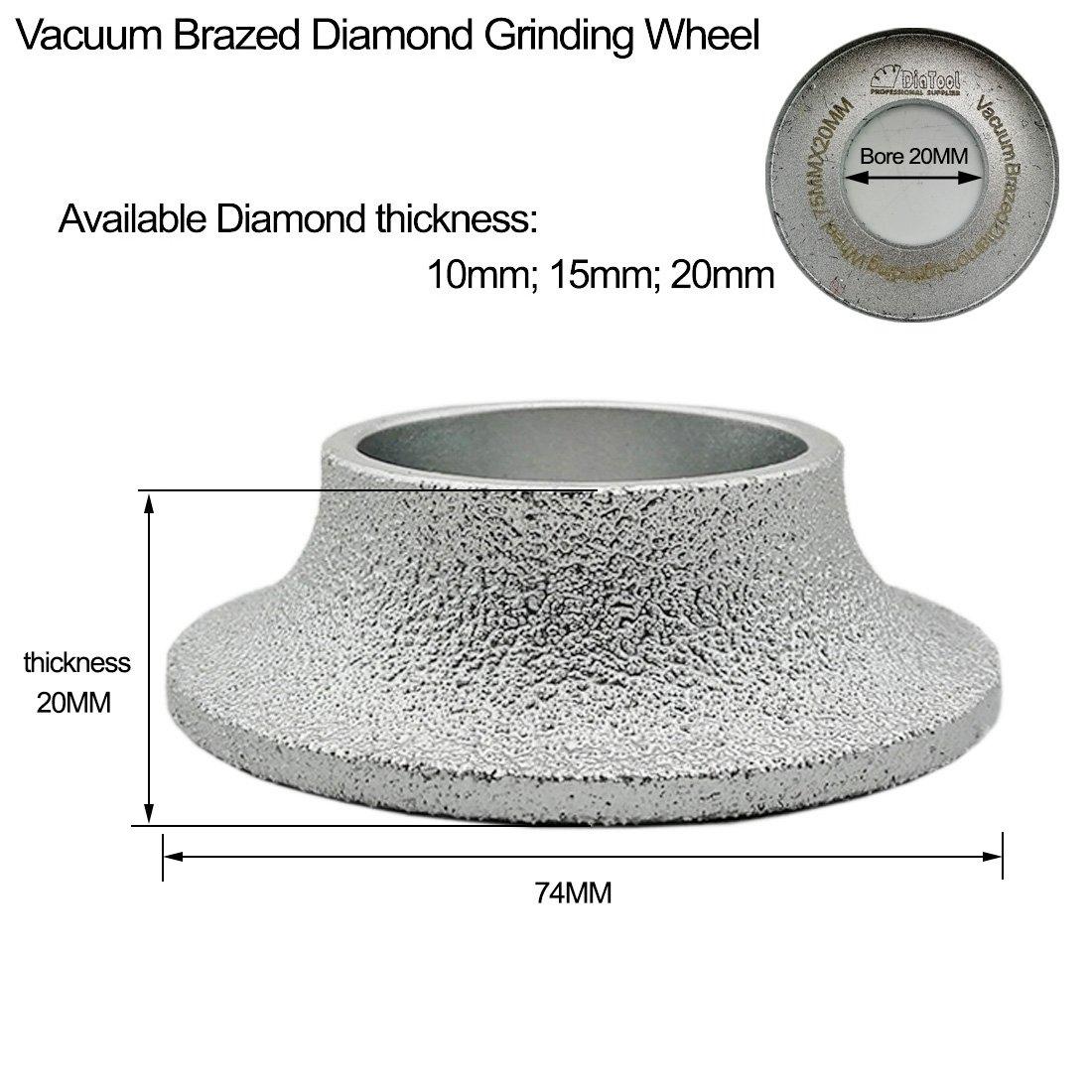 no!no! DIATOOL 3 Inch/75MM Vacuum Brazed Diamond Grinding Wheel Demi-bullnose Edge Profile for Stone Abrasive grinding disc Vacuum brazed Profile Hand diamond Wheel Grit 60 (Diamond Height 20mm) by no!no! (Image #2)