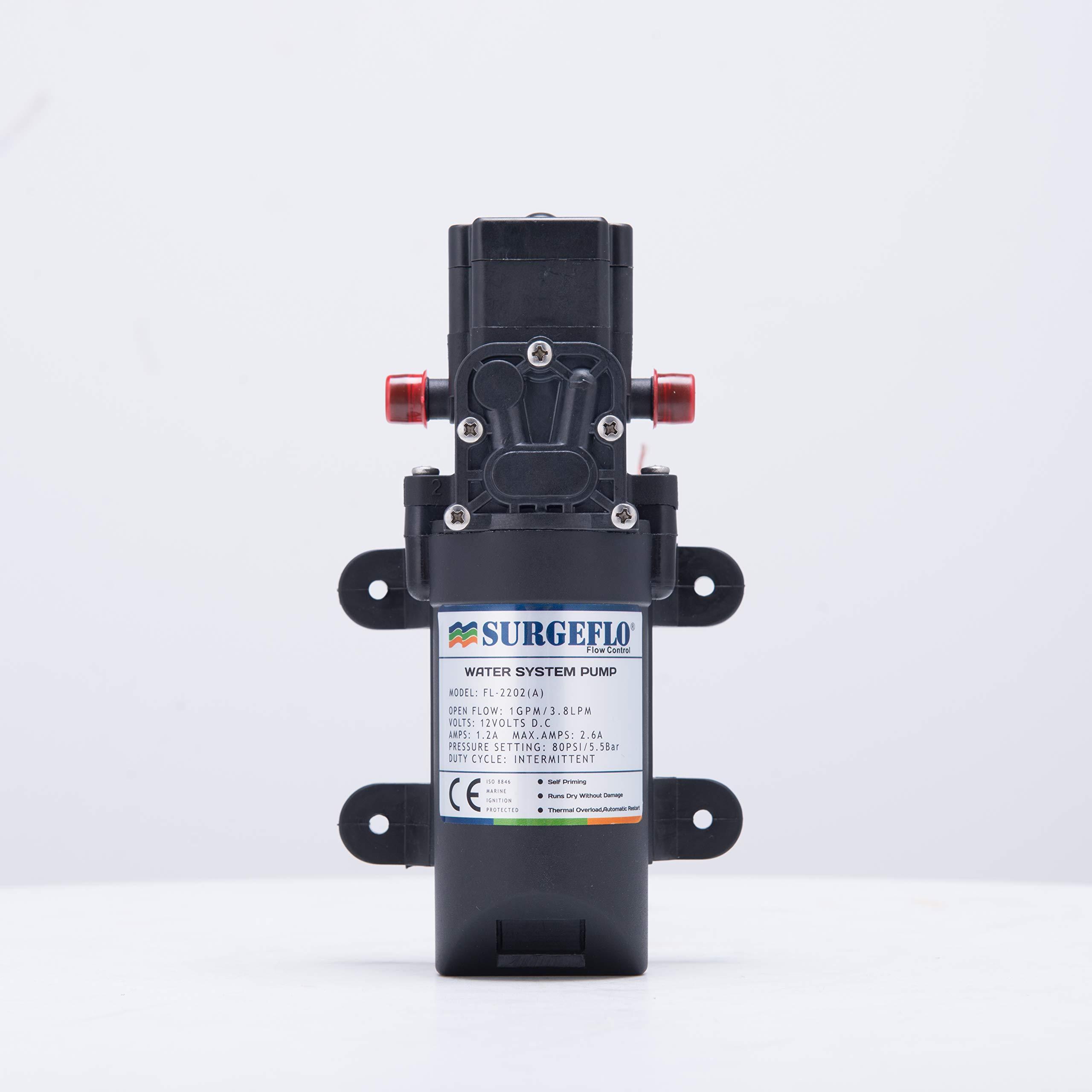 CO-Z Diaphragm Self Priming Pump for RV Marine Boat 12V 1.0GPM 80PSI Water Pressure
