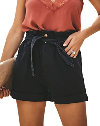 2be67ea9e0 Tengo Women High Waist Cotton Shorts Jeans Pocketed Paper Bag Denim Shorts  with Waist Tie (