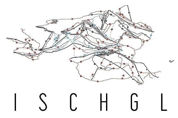 Modern Map Art Cartel de Ischgl, carteles de zona de esquí ...