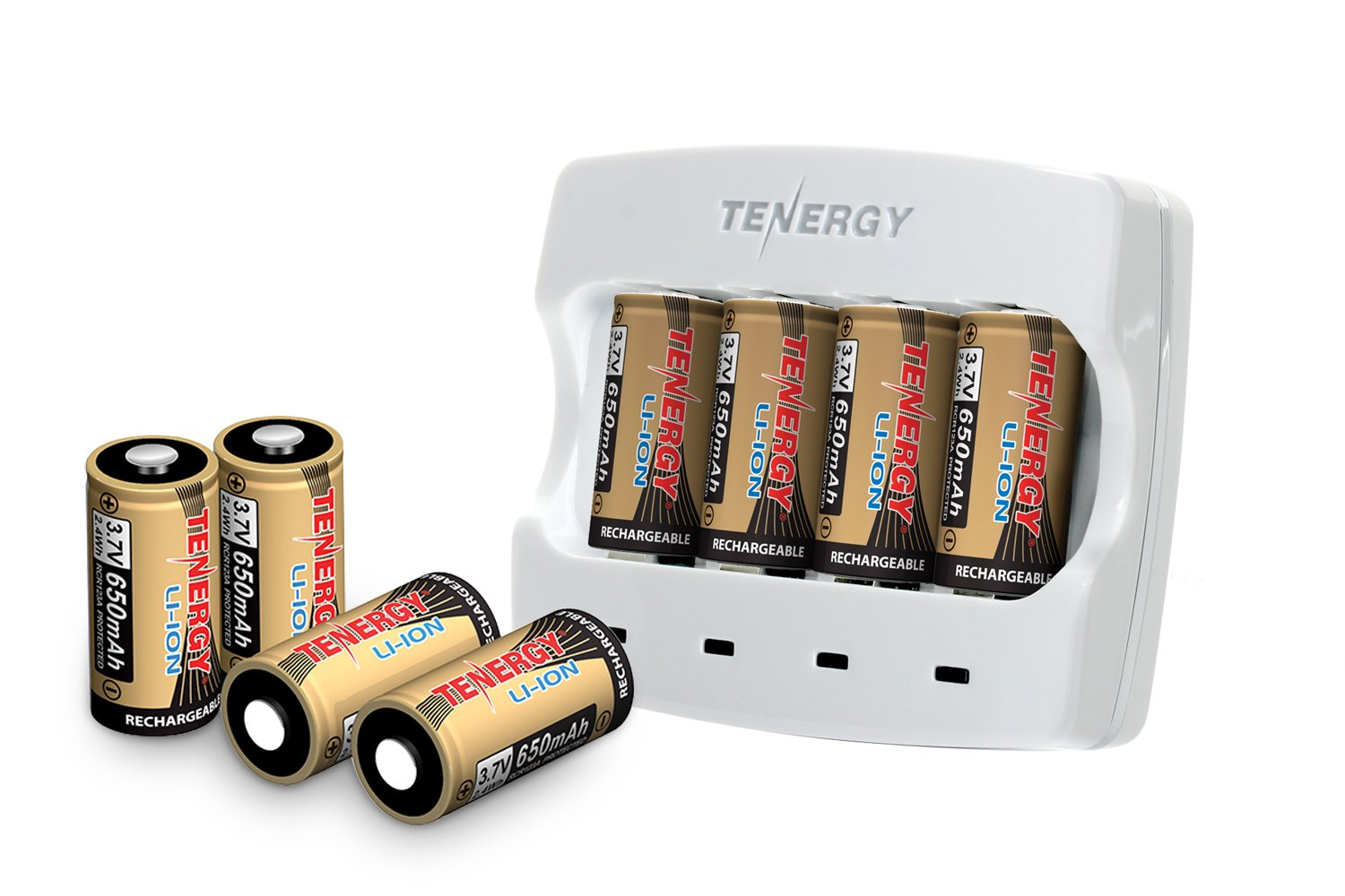 Arlo Certified: Tenergy 3.7V Arlo Battery Fast Charger and 650mAh RCR123A Li-ion Rechargeable Batteries for Arlo Wireless Security Cameras (VMC3030/VMK3200/VMS3330/3430/3530),UL UN Certified, 8-Pack by Tenergy