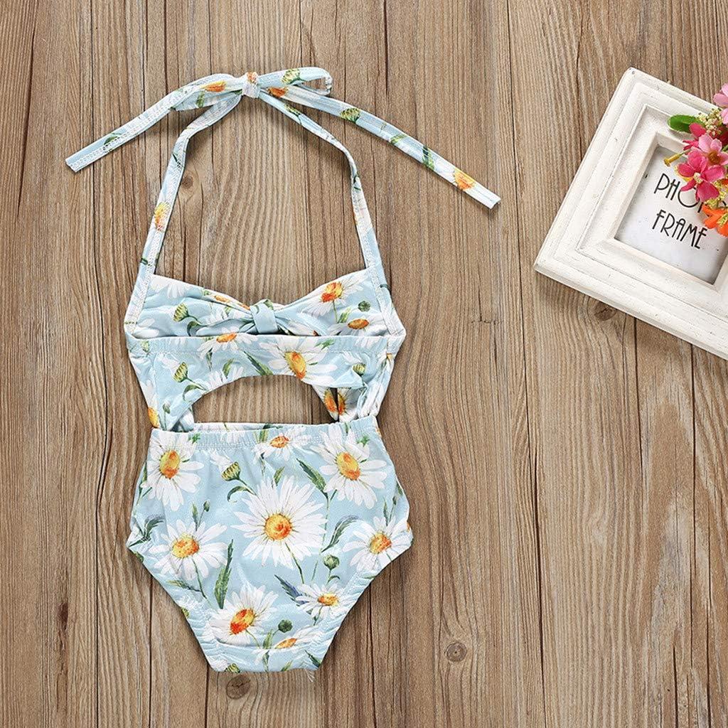KONFA Baby Girls One Piece Swimsuit Bathing Suit Little Kids//Toddler Swimwear Suspenders Floral Romper Cover Up Rashguard