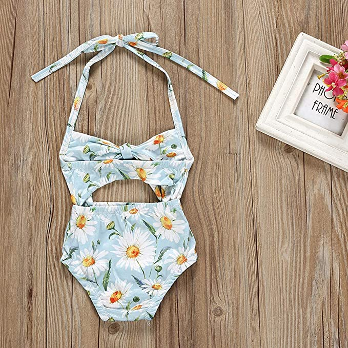 2e3e92d04a382 Amazon.com: Baby Girls One Piece Swimsuit Bathing Suit Little Kids/Toddler  Swimwear Suspenders Floral Romper Cover Up Rashguard: Clothing