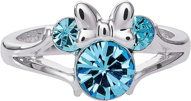 Nov//Blue Topaz Birthstone Star /& Mickey Mouse Summer Sale Silver Disney Ring