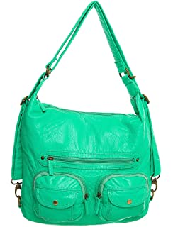 a21f8f6b3 Vegan Leather Convertible Backpack & Crossbody Purse 3-way by Ampere  Creations