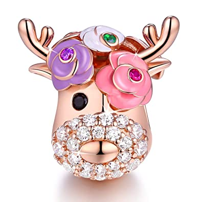 a58eb86fa Vintage Flower Deer Elk Head Bead Sparkle Charms Fit for Pandora Bracelets  925 Sterling Silver with