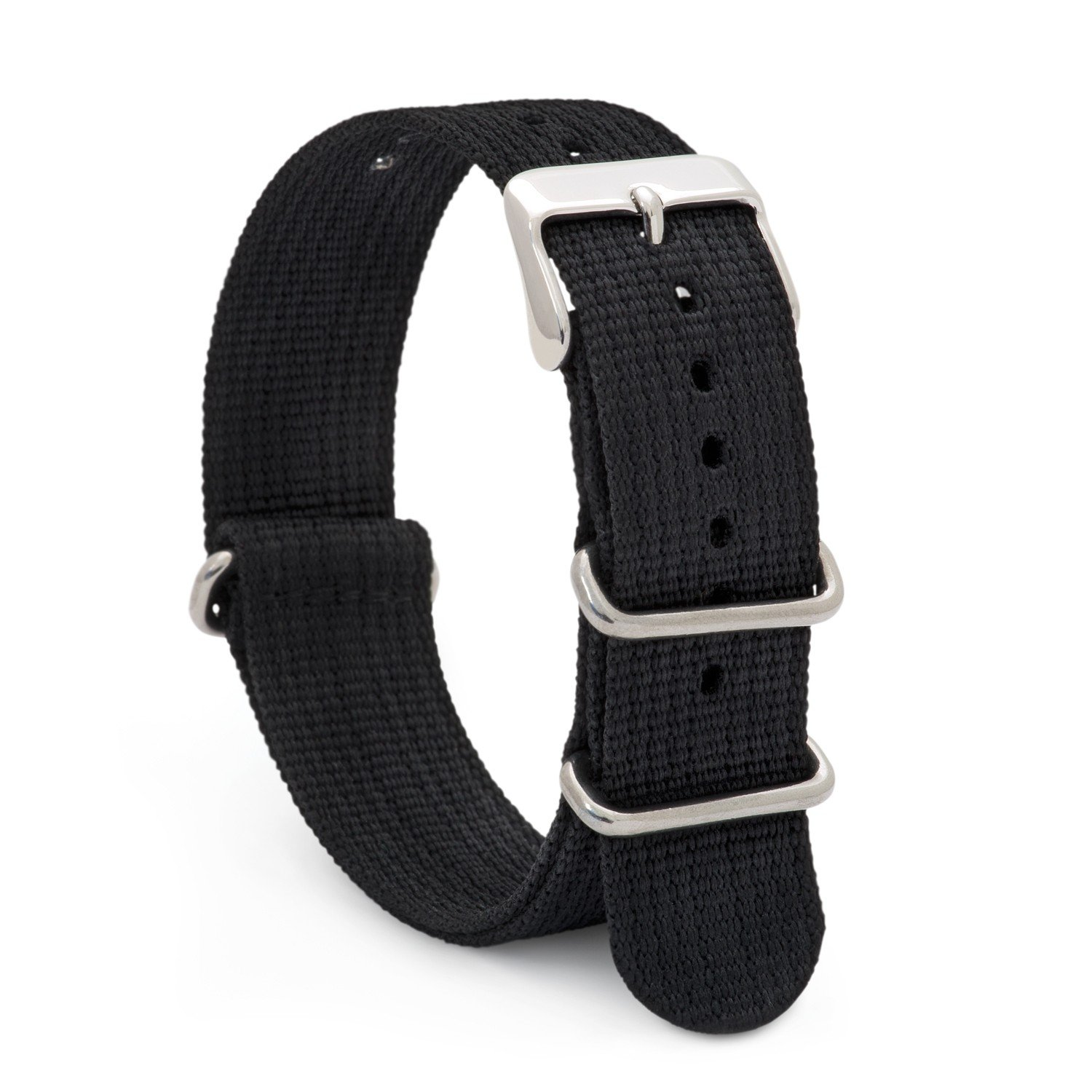 Speidel NATO Watch Band 20mm Black Woven Military Style Nylon Strap with Heavy Duty Stainless Steel Keepers and Buckle