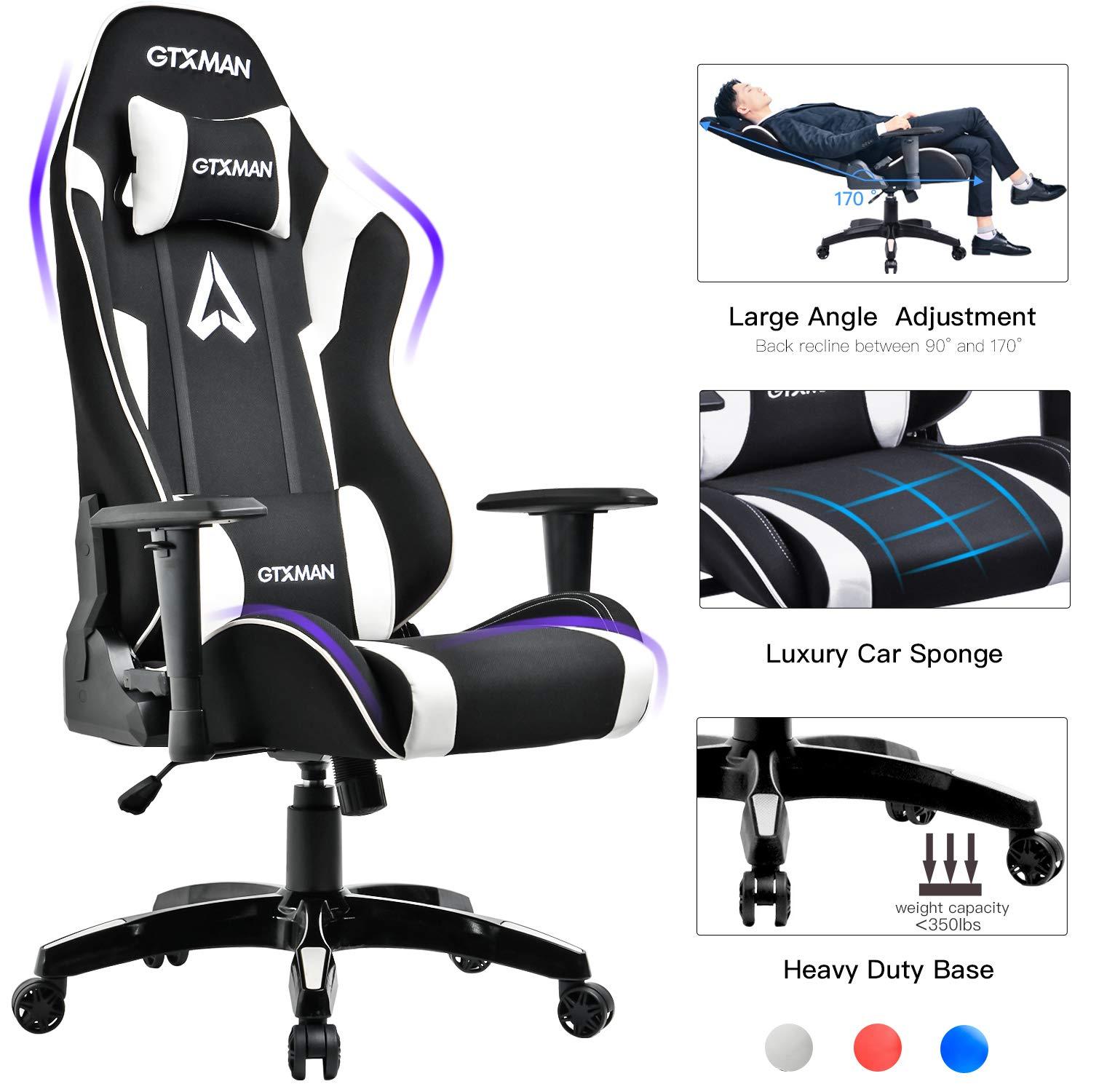 GTXMAN Gaming Chair Racing Style Office Chair Video Game Chair Breathable Mesh Chair Ergonomic Heavy Duty 350lbs Esports Chair White by GTXMAN
